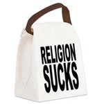 religionsucksblk.png Canvas Lunch Bag