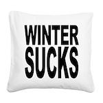 wintersucksblk.png Square Canvas Pillow