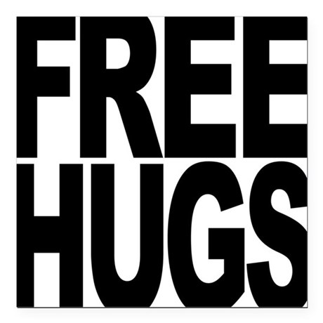 "freehugs-blk.png Square Car Magnet 3"" x 3"""