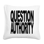 questionauthorityblockblk.png Square Canvas Pillow