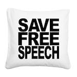 savefreespeechblockblk.png Square Canvas Pillow