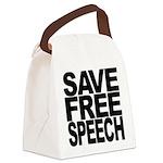 savefreespeechblockblk.png Canvas Lunch Bag
