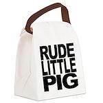 rudelittlepigblk.png Canvas Lunch Bag