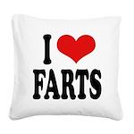 ilovefartsblk.png Square Canvas Pillow
