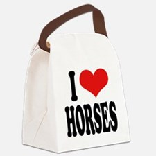 ilovehorsesblk.png Canvas Lunch Bag
