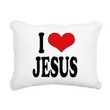ilovejesusblk.png Rectangular Canvas Pillow