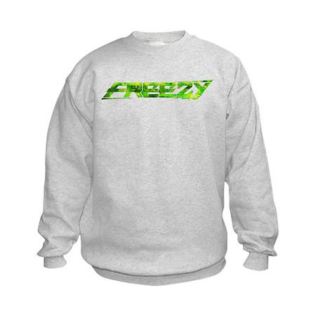 freezy_trans_green_cafepress.png Kids Sweatshirt