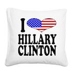 ilovehillaryclintonblk.png Square Canvas Pillow