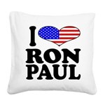iloveronpaulblk.png Square Canvas Pillow