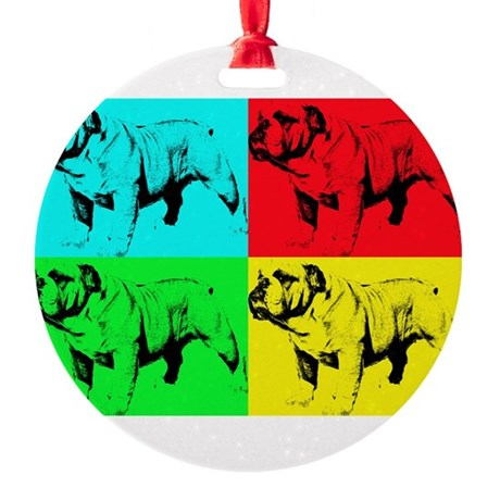 Pop Bulldog2 Round Ornament