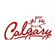 Calgary Leaf Script Aluminum License Plate