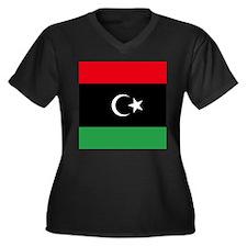 Libya Flag Women's Plus Size V-Neck Dark T-Shirt