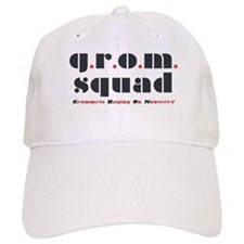 "Clean, White ""grom squad"" Baseball Cap"