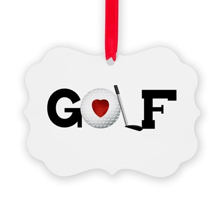 HEARTGOLFBALLTEE.png Picture Ornament