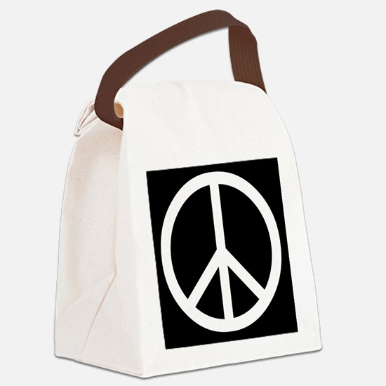 White Peace Sign Canvas Lunch Bag