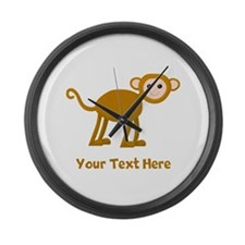 Monkey and Text. Large Wall Clock