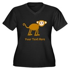 Monkey and Text. Women's Plus Size V-Neck Dark T-S