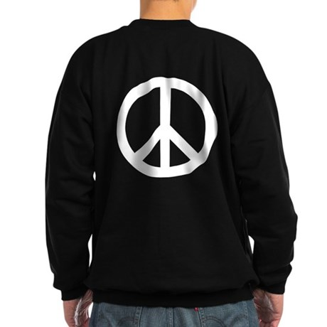 White Peace Sign Sweatshirt (dark)