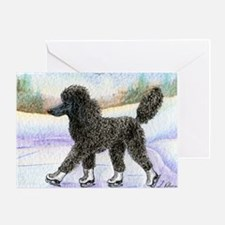 Black poodle takes to the ice Greeting Card