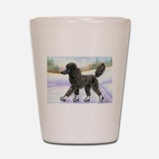 Black poodle takes to the ice Shot Glass