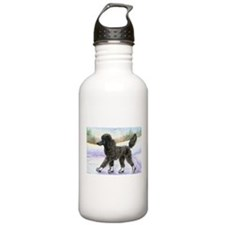 Black poodle takes to the ice Water Bottle