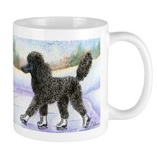 Black poodle takes to the ice Mug