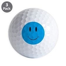 Smiley Blue Face Golf Ball