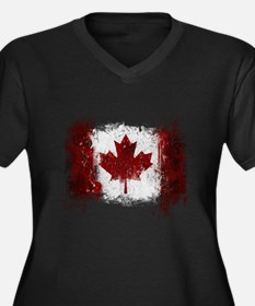Canada Graffiti Women's Plus Size V-Neck Dark T-Sh