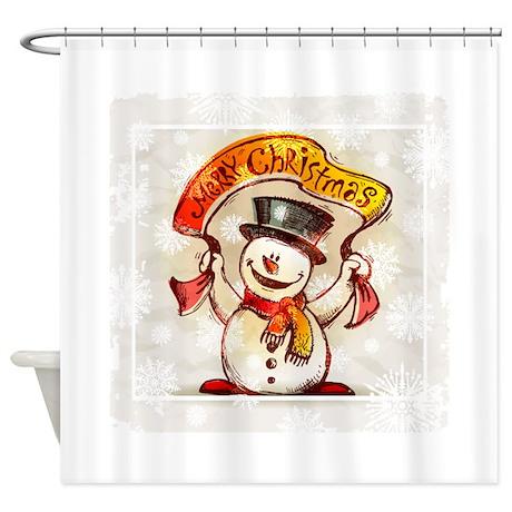 Merry Christmas snowman frame Shower Curtain