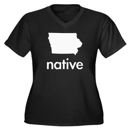 Native Women's Plus Size V-Neck Dark T-Shirt