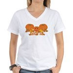 Halloween Pumpkin Gloria Women's V-Neck T-Shirt