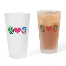 Peace, Love, Obama Drinking Glass