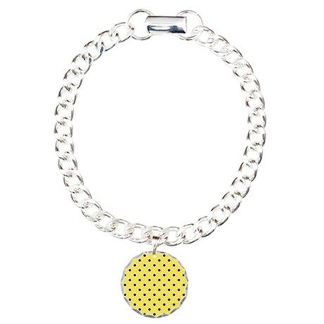 Yellow and black polka dot. Charm Bracelet, One Ch