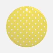 Yellow and White Dot Design. Ornament (Round)