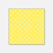 "Yellow and White Dot Design. Square Sticker 3"" x 3"