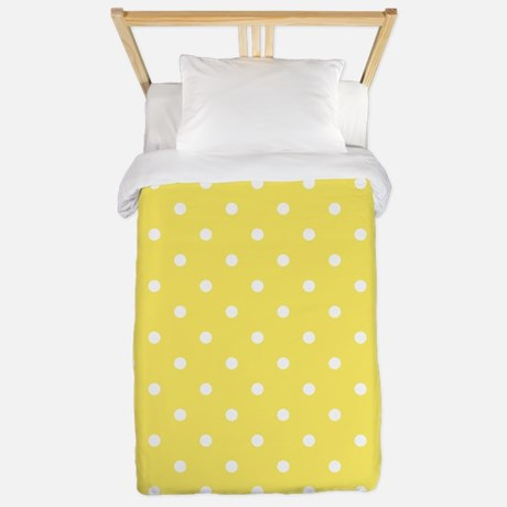 Yellow And White Dot Design Twin Duvet
