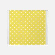 Yellow and White Dot Design. Throw Blanket