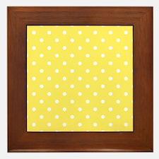 Yellow and White Dot Design. Framed Tile