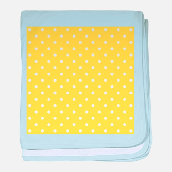 Yellow and White Dot Design. baby blanket