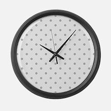Light Gray Dot Pattern. Large Wall Clock