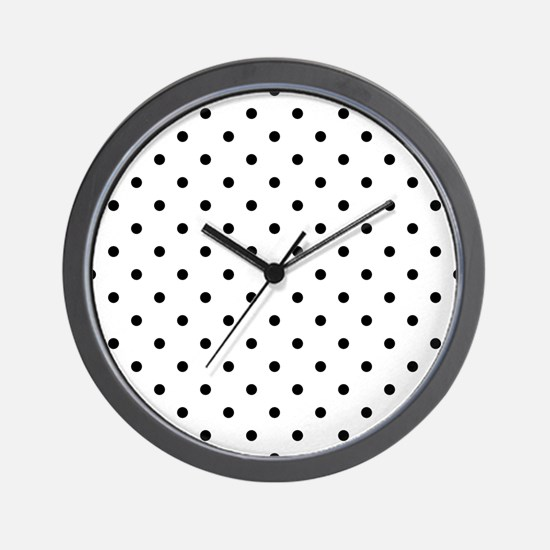 Black Polka Dot Pattern. Wall Clock