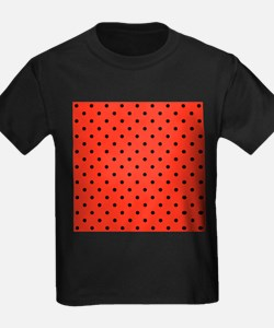 Red and black polka dot. T