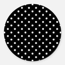 Black and White Polka Dot. Round Car Magnet