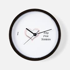 I heart Toy Fox Terriers Wall Clock