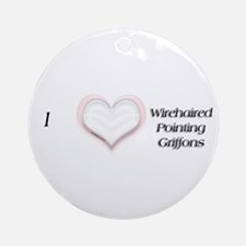 I heart Wirehaired Pointing Griffons Ornament (Rou