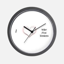 I heart Wire Fox Terriers Wall Clock