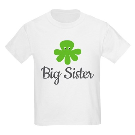 Big Sis Green Octopus Kids Light T-Shirt