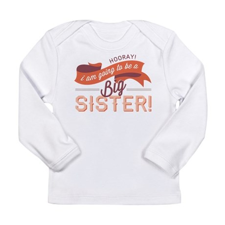 Wavy Big Sister Banner Long Sleeve Infant T-Shirt