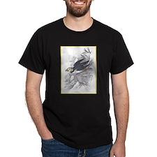 Puffin Bird (Front) Black T-Shirt