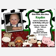 Farm Animals Birthday Invitation 5x7 Flat Cards